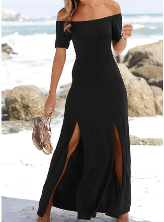 Solid Short Sleeves A-line Little Black/Casual/Vacation Maxi Dresses