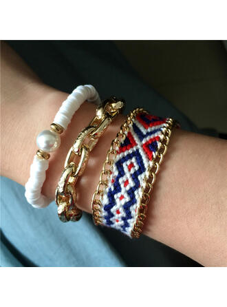 Exotic Boho Alloy Braided Rope Soft Clay With Imitation Pearl Bracelets (Set of 3)