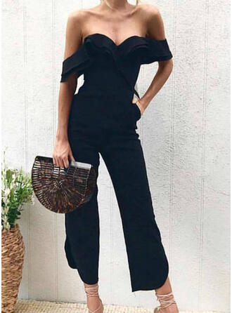 Solid Off the Shoulder Short Sleeves Casual Sexy Jumpsuit