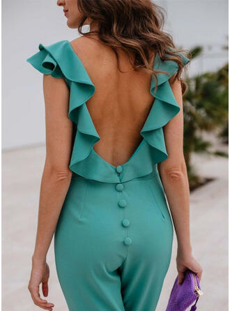 Solid Round Neck Sleeveless Casual Sexy Jumpsuit