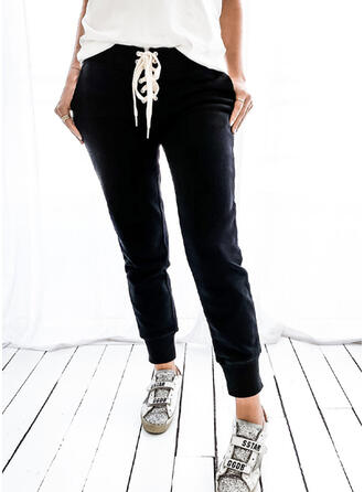 Solid Drawstring Long Casual Sporty Pants