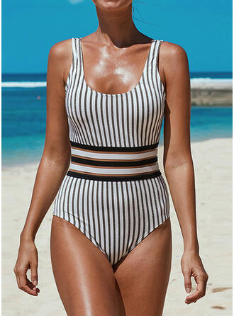 Stripe Strap U-Neck Sexy Vintage One-piece Swimsuits
