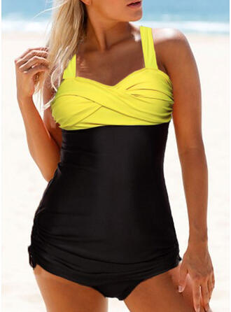 Splice color Ruffles Cross Strapless Sexy Eye-catching Tankinis Swimsuits