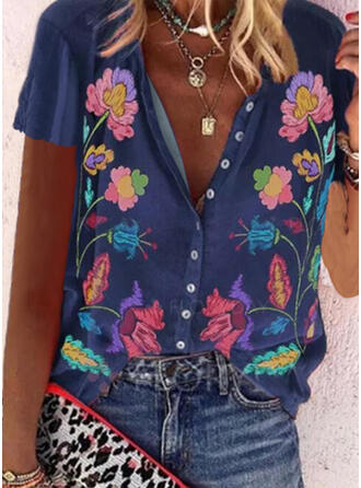 Print Floral V-Neck Short Sleeves Button Up Casual Shirt Blouses