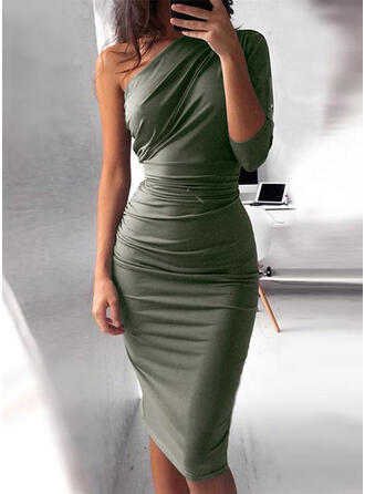 Solid 3/4 Sleeves Bodycon Knee Length Casual/Party Dresses