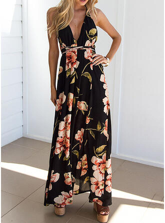Print/Floral Sleeveless A-line Casual/Party Maxi Dresses