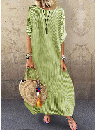 Striped 1/2 Sleeves Shift Tunic Casual/Vacation Maxi Dresses