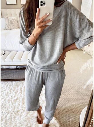 Solid Jacquard Casual Sporty Suits