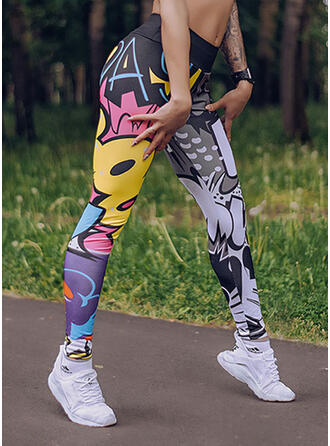 Print Long Casual Sporty Yoga Leggings