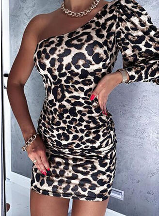 Leopard Long Sleeves/Lantern Sleeve Bodycon Above Knee Sexy Dresses