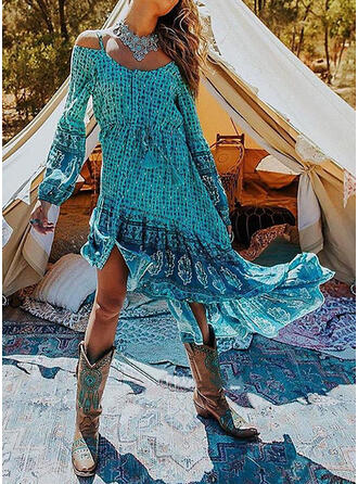 Print Long Sleeves/Cold Shoulder Sleeve A-line Asymmetrical Casual/Vacation Dresses