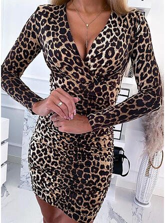 Leopard Long Sleeves Bodycon Above Knee Sexy Dresses