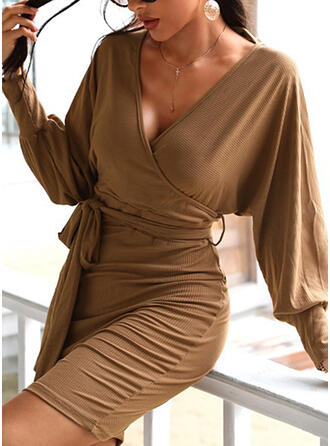 Solid Long Sleeves/Lantern Sleeve Bodycon Above Knee Little Black/Casual Dresses