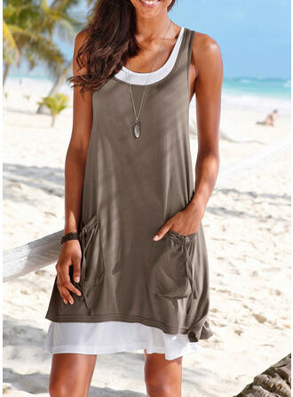 Solid Color Strap U-Neck Sexy Plus Size Boho Cover-ups Swimsuits