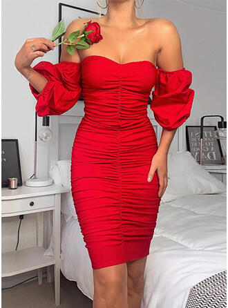 Solid 3/4 Sleeves/Puff Sleeves Bodycon Above Knee Sexy/Party/Elegant Dresses