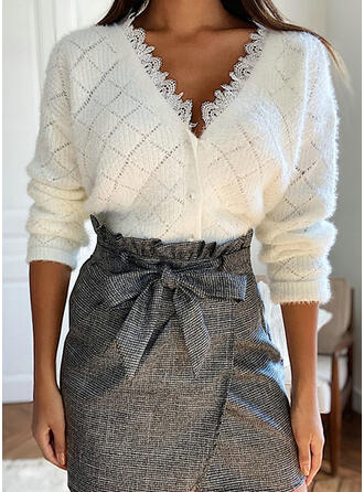Solid Lace Casual Cardigan