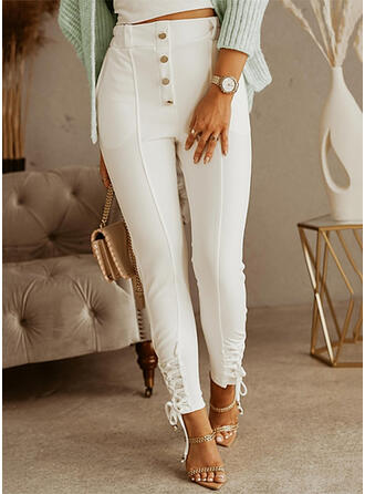 Solid Long Casual Plus Size Pocket Lace Up Knot Button Pants