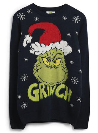 Polyester Print Letter Ugly Christmas Sweater