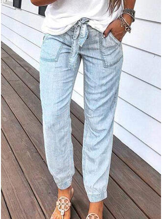 Pockets Shirred Long Casual Solid Denim & Jeans