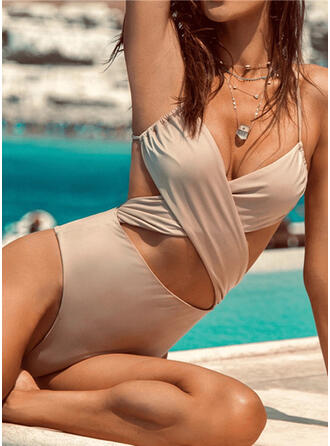 Hollow Out Ruffles Cross Strap V-Neck Detachable Sexy Retro Exquisite One-piece Swimsuits