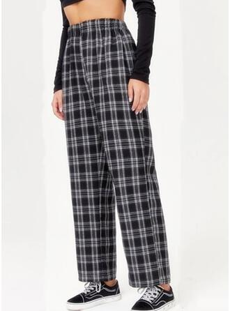 Plaid Shirred Casual Skinny Pants