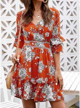 Lace/Print/Floral 1/2 Sleeves/Flare Sleeves A-line Above Knee Casual/Vacation Dresses