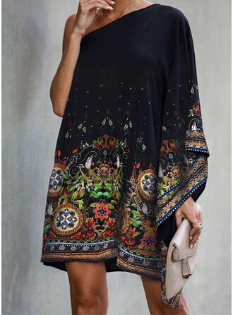 Print Long Sleeves/Batwing Sleeves Shift Above Knee Casual/Boho/Vacation Tunic Dresses