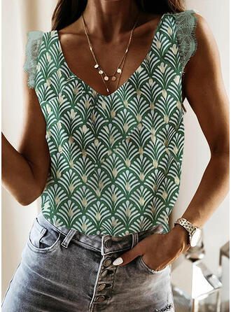 Print Lace V-Neck Sleeveless Casual Tank Tops