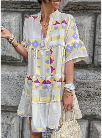 Print 1/2 Sleeves/Flare Sleeves Shift Above Knee Casual/Vacation Dresses