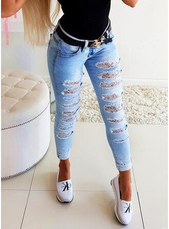 Pockets Shirred Long Casual Sexy Solid Plain Denim & Jeans