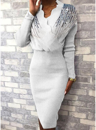 Sequins Long Sleeves Bodycon Knee Length Casual/Elegant Sweater Dresses