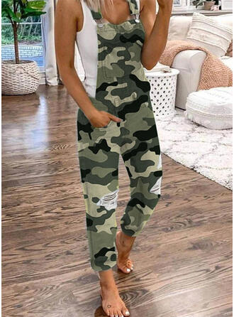 Plus Size Ripped Camouflage Long Casual Plain Jumpsuits & Rompers