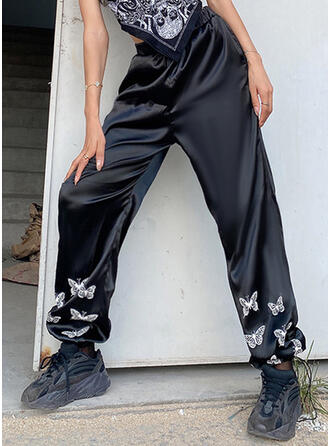 Print Shirred Casual Sporty Pants