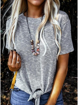Solid Round Neck Blouses