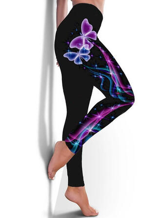 Print Plus Size Long Casual Sporty Yoga Leggings