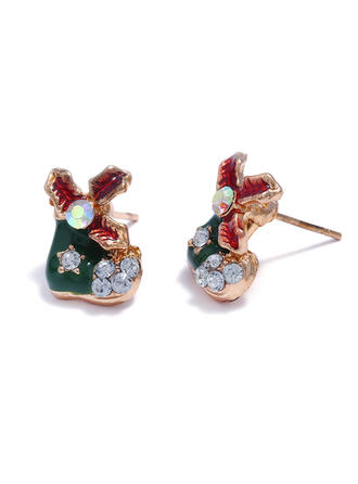 Simple Christmas Alloy With Rhinestones Earrings 2 PCS