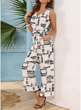 Print V-Neck Sleeveless Casual Jumpsuit