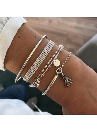 Layered Tassels Design Alloy With Coin Women's Bracelets Beach Jewelry 4 PCS