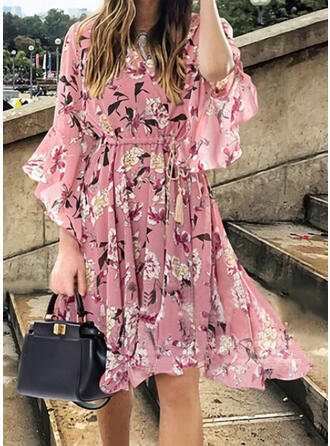 Print/Floral Long Sleeves/Flare Sleeves A-line Knee Length Casual/Vacation Dresses