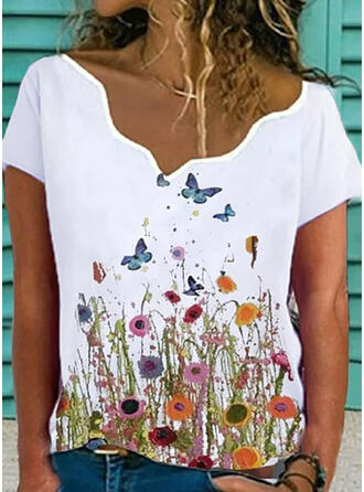 Floral Animal Print V-Neck Short Sleeves Casual Blouses