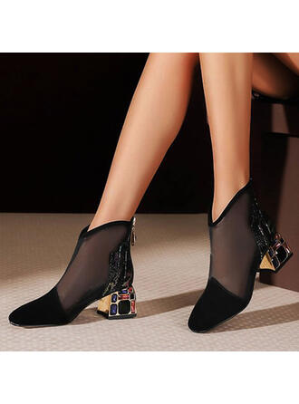 Women's PU Chunky Heel Pumps Ankle Boots Pointed Toe With Rhinestone Zipper shoes