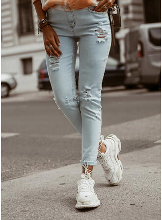 Shirred Ripped Sexy Skinny Denim & Jeans
