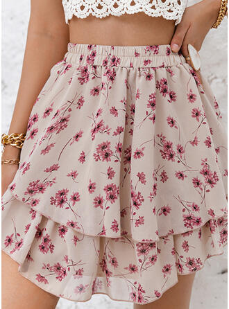 Polyester Print Floral Above Knee A-Line Skirts