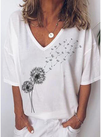 Print V-Neck 3/4 Sleeves Casual T-shirts