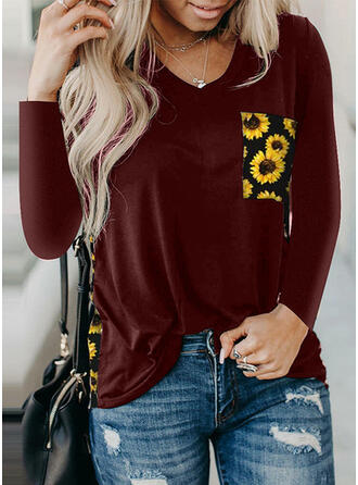 Sunflower Print V-Neck Long Sleeves Casual T-shirts