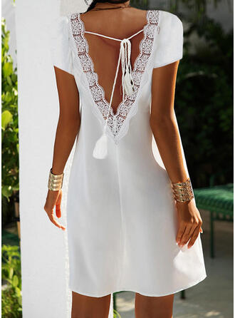 Solid Lace Short Sleeves Shift Above Knee Casual Dresses