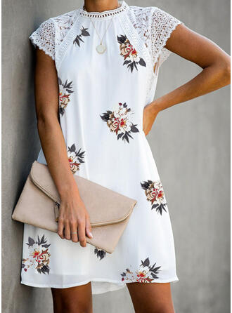 Lace/Print/Floral Short Sleeves Shift Above Knee Casual Dresses