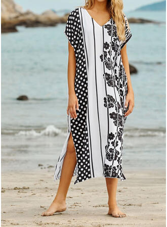 Print V-Neck Sexy Fashionable Vintage Cover-ups Swimsuits
