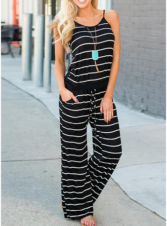Striped Spaghetti Strap Sleeveless Casual Vacation Jumpsuit