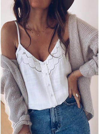 Solid Spaghetti Strap Sleeveless Button Up Casual Tank Tops
